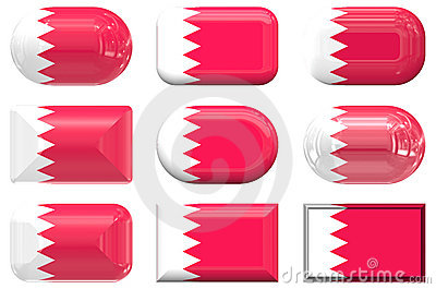 Nine glass buttons of the Flag of Bahrain