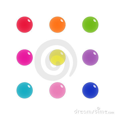 Nine glass orbs of glass in bright colours