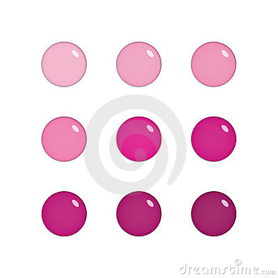 Nine glass orbs in pink and purple