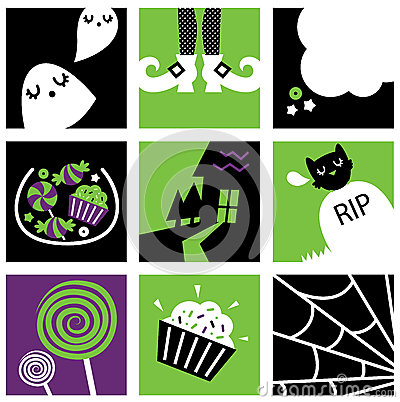 Nine halloween square icons collection