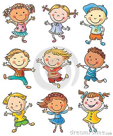 Nine Happy Kids Dancing or Jumping Vector Illustration