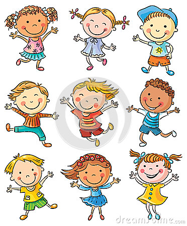 Free Nine Happy Kids Dancing Or Jumping Stock Photography - 48742522