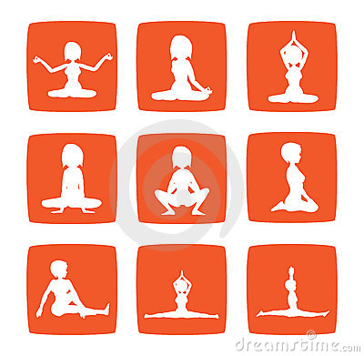 Nine icons set of girl practicing yoga postures