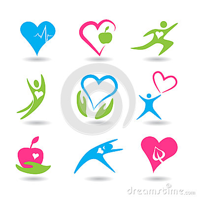 Nine icons symbolizing healthy heart