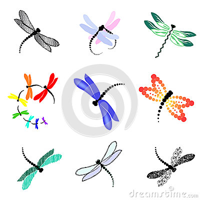 Set Of Images Of Dragonflies Stock Photo - Image: 29860220