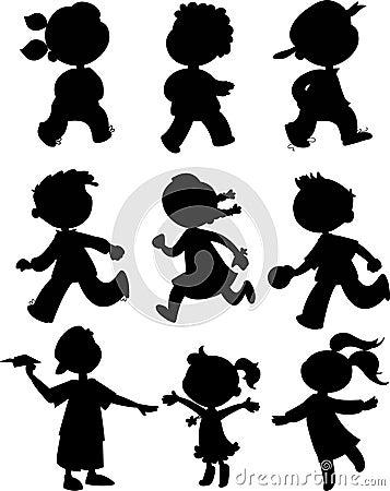 Nine kids - black icon set
