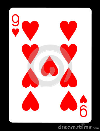 Free Nine Of Hearts Playing Card, Royalty Free Stock Images - 86724079