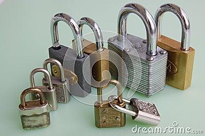 Nine padlocks