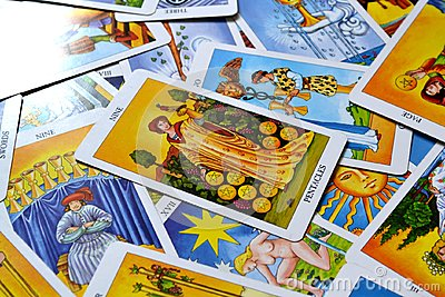 Nine of Pentacles Tarot Card Success Prosperity Wealth Financial Stability Stock Photo