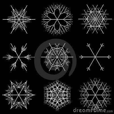 Free Nine Snowflakes Designs Royalty Free Stock Image - 3371896
