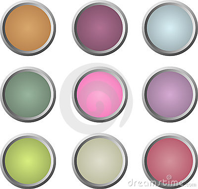 Nine soft-colored web buttons