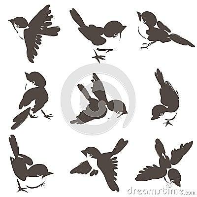 Nine sparrow poses