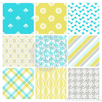 Nine trendy textile or wallpaper pattern