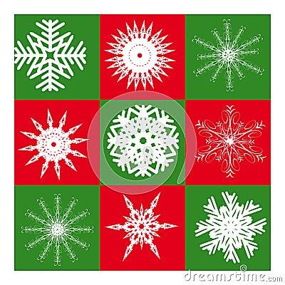 Nine white snowflakes