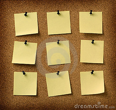 Free Nine Yellow Notes Pinned To Grunge Cork Background Stock Images - 3768634