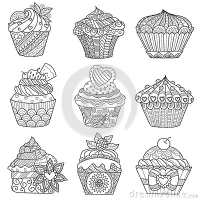 Nine zendoodle design of cupcakes isolated on white background design for both kids and adult coloring book page. Vector illustrat Vector Illustration
