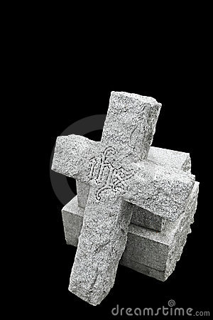 Nineteenth century gravestone with broken cross
