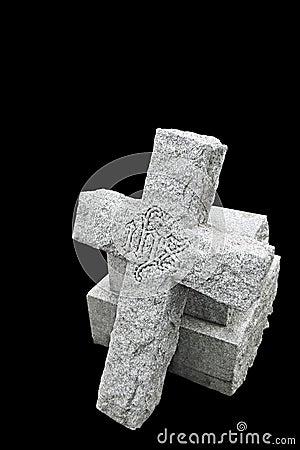 Nineteenth century gravestone with broken cross