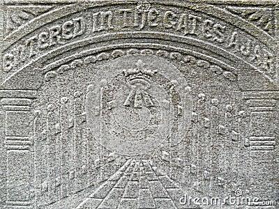 Nineteenth century gravestone detail gates heaven