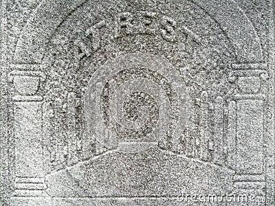 Nineteenth century tombstone detail gates heaven
