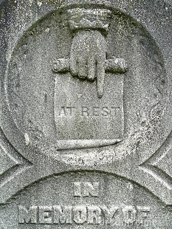 Nineteenth century tombstone detail at rest hand