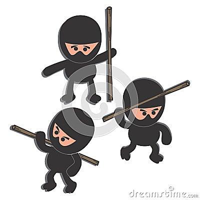 Ninja cartoon set character