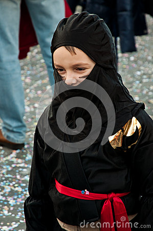 Ninja fancydress in roman carnival Editorial Photo