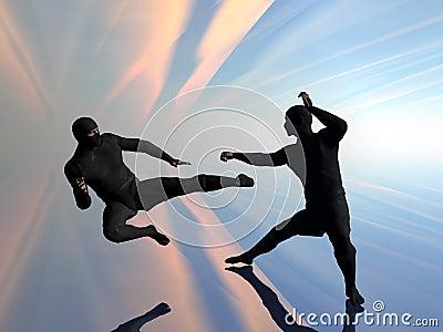 Ninja zwei im Kampf.