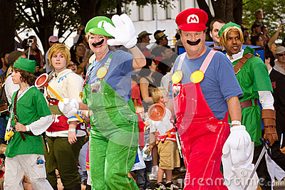 Nintendo fans dressed as game characters Editorial Stock Image