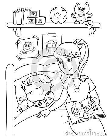 Niño en la cama con la mama