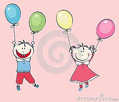 Niño pequeño feliz, vuelo de la muchacha con los globos