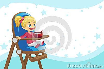 Niño que come en alta silla