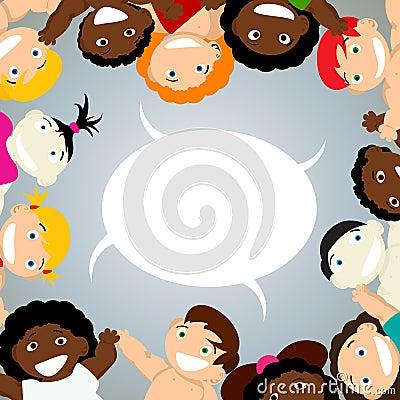 Niños con la burbuja del discurso