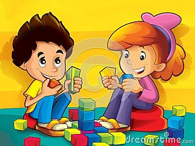 Niños en la guardería que juega bloques