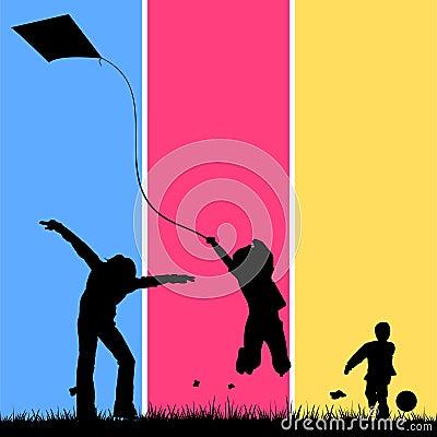 Niños que juegan en un campo