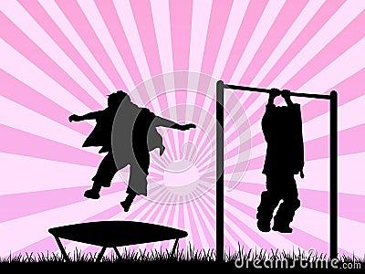 Niños que juegan en un patio