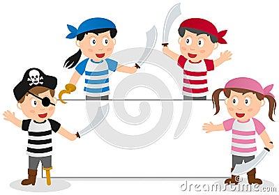 Niños y bandera de los piratas