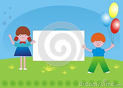 Niños y bandera del lema