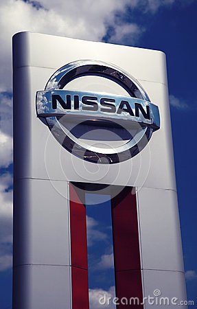 Nissan car dealership sign Editorial Stock Image