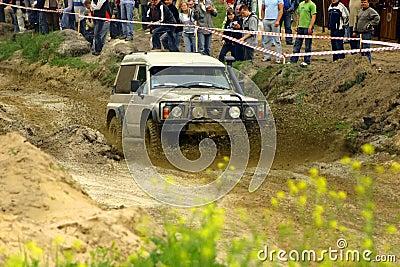Nissan patrol during mud passage Editorial Stock Image