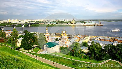 Nizhny Novgorod panoramic cityscape in the morning
