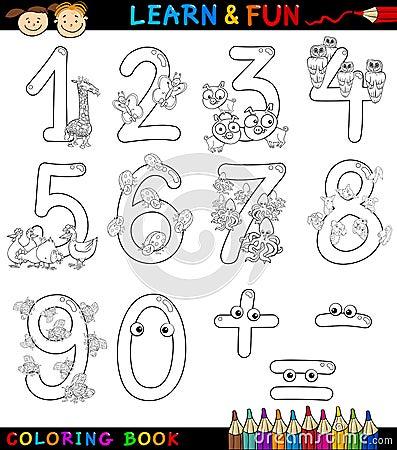 Números con los animales de la historieta para el colorante