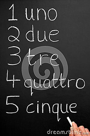 Números de um Italain da escrita do professor.