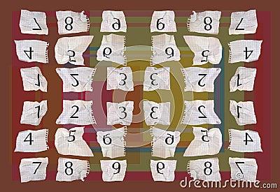 Números del papel de gráfico