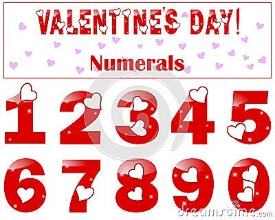 Números románticos con un corazón.
