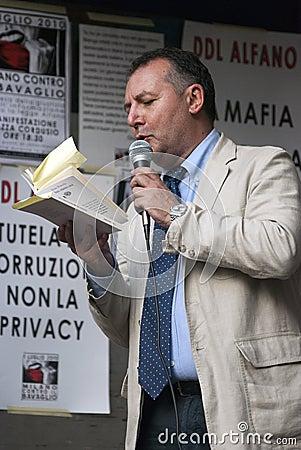 No Bavaglio Day - Piero Colaprico Editorial Photo