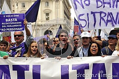 No Berlusconi Day 2 Editorial Image