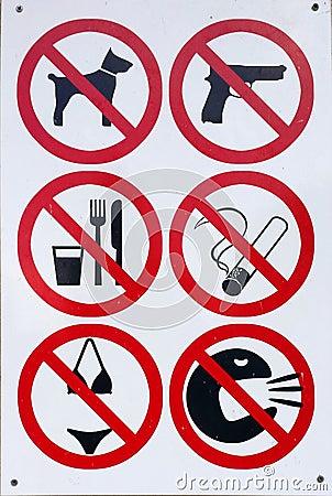 Free No Bikinis, Smoking, Guns, Dogs, Drinking And More Stock Photos - 46808433