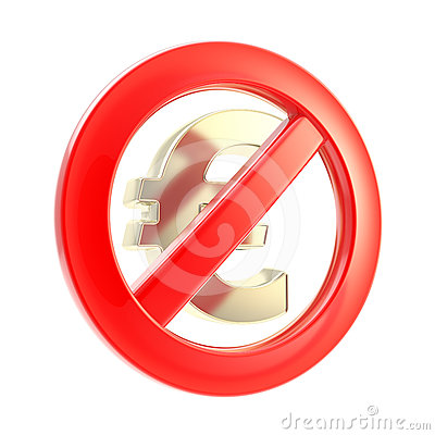 No cash sign as crossed euro symbol