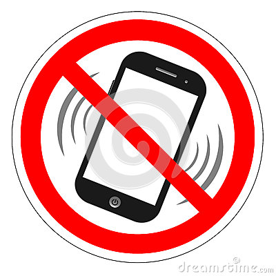 Free No Cell Phone Sign. Mobile Phone Ringer Volume Mute Sign. No Smartphone Allowed Icon. No Calling Label On White Background. No Pho Royalty Free Stock Photo - 80714995